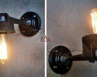 Wall Light. Cast iron Sconce. Industrial. Steampunk. Edison. Single bulb.