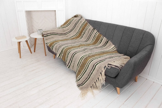 Small Throw For Chair, Sofa And Chair Wool Throw, Striped Throw Blanket, Hand Woven Plaid Blanket, Living Room Throw, Heavy Throw For Couch by Etsy