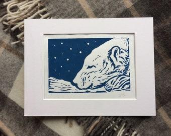 Polar Bear Lino Print Art