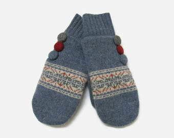 Wool Sweater Mittens // Recycled and Felted Wool Mittens // Blue Red and Gray Wool Mittens // Fleece Lined Mittens