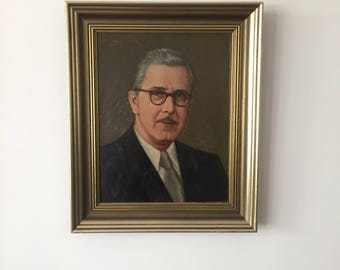 Mid century 50's portrait in oil in the gold frame