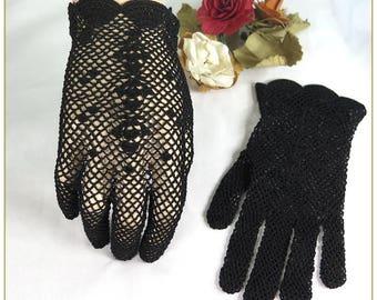 Black Crochet Gloves, 100% Cotton