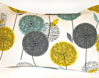 teal grey mustard yellow dandelion decorative pillowcase, flower cushion pillow cover 20 x 30 inch
