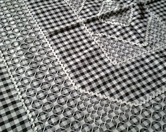 Retro  Breakfast Square Tablecloth - Hand embroidery - Cafe - Black and White - 25% off