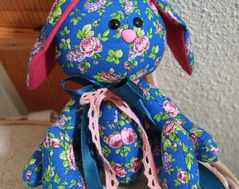 Navy Blue Rabbit with flowers