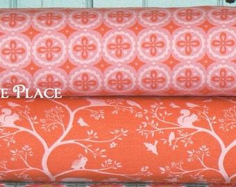 1/2 yard Bundle Organic Cotton Knit Fabric .. Monaluna GOTS certified organic cotton knit ..  Meadow .. coral, pink, woodland animals