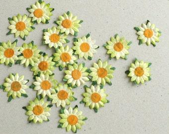 Paper cut flowers etsy 25mm light green die cut flowers 20 flat paper flower with orange centre great mightylinksfo