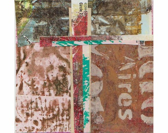 """Balancing Act - Original Collage with Hand Drawn and Painted Papers 4 x 4 on 5 x 5"""" Backing"""