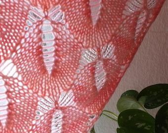 Dragonfly Garden Coral Beaded HandKnit Scarf Shawl