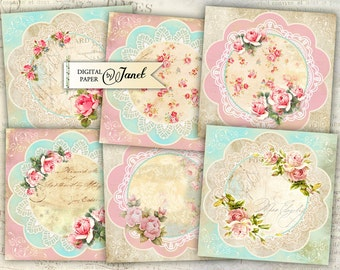Vintage Note Stickers - set of 6 - digital collage sheet - Printable Download