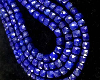 """AAA+ Natural Lapis Lazuli faceted cube beads, Lapis beads, Lapis cube beads, Natural Lapis briolettes 5-6mm 8""""inch strand"""