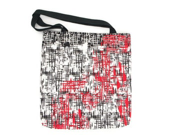 Black Red and White Graphic Lines Tote