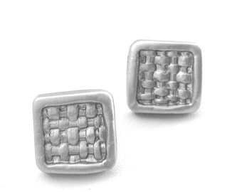 Matte Silver Woven Stud Earrings.LOW Shipping. Includes Nice Gift Box w/Coordinating Ribbon. The PERFECT Gift for any occasion.