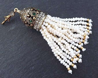 Large Long Ivory Freshwater Pearl Beaded Tassel with Hamsa Clear Crystal Accents - Antique Bronze - 1PC