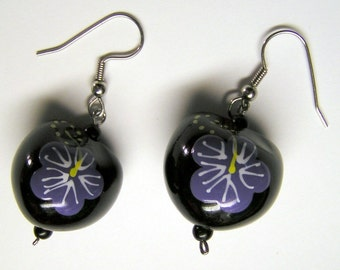 Painted Kukui Nut Earrings