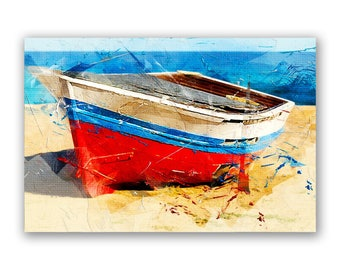 Boat Painting, Boat Wall Art Printed on Glass or Acrylic