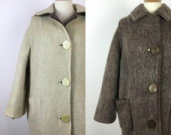 Vintage 1950s Reversible Mohair Wool Coat - 50s Brown & Cream Car Coat - Longline Oversized Cardigan Coat - Small Medium Large -