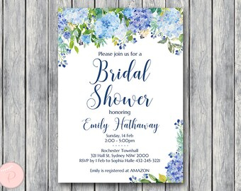 Blue Hydrangea Floral Personalized Elegant Wedding Invitations, Bridal shower invitation, Baby Shower, Personalized Wedding Invitation TH84