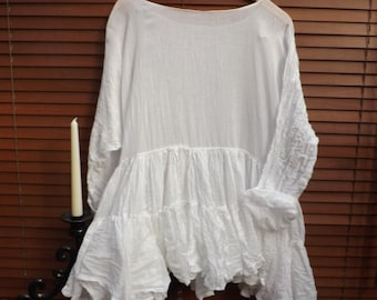 OSFM RITANOTIARA 12m fabric Romy Cotton silk voile boho Prairie white tiered Oversized Top Mid West shirt tunic Shabby gypsy Boho Lagenlook