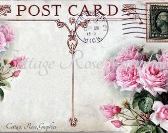 Vintage Postcard collage Pink roses Large digital download BUY 3 get one FREE single image printable