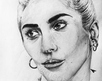 Lady Gaga - Handdrawn portrait