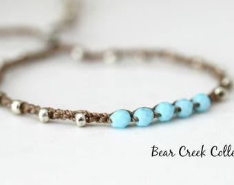 Blue Bracelet, Dainty, Light Blue, Baby Blue, Silver, Gold, Glass, Adjustable, Boho Beaded Jewelry, Cord Bracelet, Crochet Jewelry