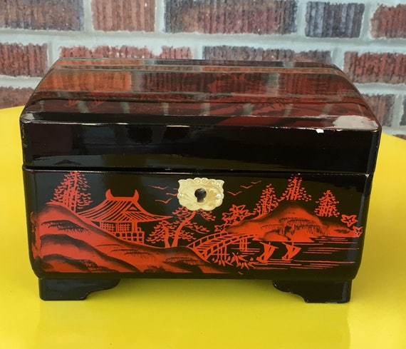Vintage Japanese Musical Jewelry Box Black Lacquer Box