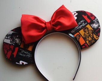 Star Wars: The Force Awakens Mouse Ears (Red/Black Bow)