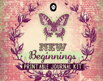 Journaling Pages – New Beginnings - 27 Journal Pages - digital paper packs, grungy digital pages, lined notebook, journal pages
