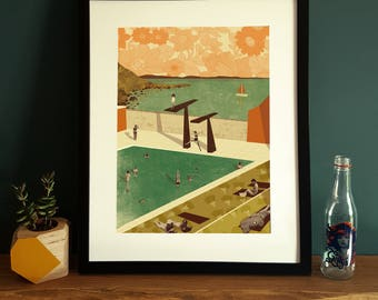 Portishead Lido Illustration Poster A3