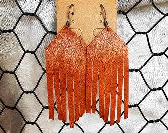 Tan vegan leather fringe earrings