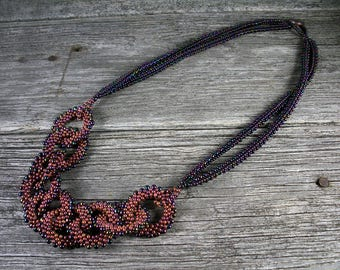 Beadweaving: Metallic Bronze-Purple Peanut Bead Chain Necklace