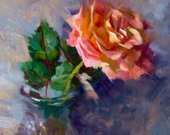 PInk Rose - original oil painting, alla prima oil painting, one of a kind