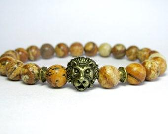 Picture Jasper Lion Bracelet, Mens Beaded Bracelet, Mala Bracelet, Gemstone Bracelet, Stretch Bracelet, Gift for Him or Her