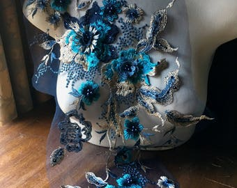 SECONDS - Navy Blue, Gold, & Turquoise 3d Lace Applique #1 VERY LONG, Beaded for Couture Gowns, Lyrical or Ballet Costume Design F21 Long