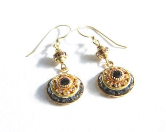 Fabulous Peach and Black Diamond Swarovski Crystal Earrings with Rare 1960s Swarovski Elements