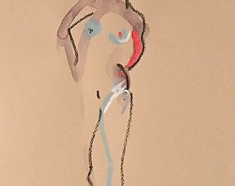 Nude painting of One minute pose 113.7 nude art, original, gesture sketch by Gretchen Kelly