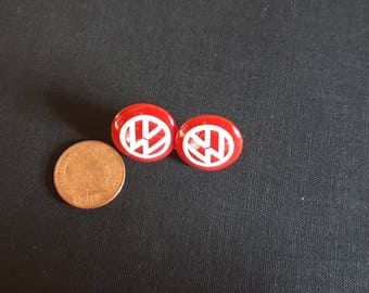 Red and White VW logo plastic stud earrings