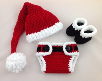 Baby Christmas Outfit - First Christmas Outfit - Baby Santa Outfit - Baby Santa Hat - Christmas Baby Outfit - Baby First Christmas Outfit