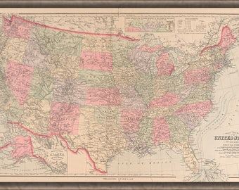 Poster, Many Sizes Available; Map Of The United States Of America 1890