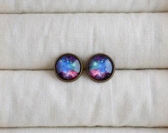 Universe post earrings, Multicolor stud earrings, Galaxy earrings, Space studs, Science stud earrings, Universe lovers jewelry gift UJ 075