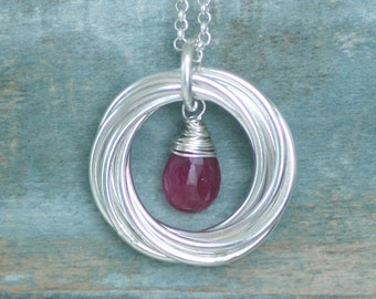 70th birthday gift, July birthstone necklace 70th, ruby necklace for 70th birthday, gift for mom, wife - Lilia