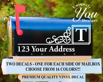 Mailbox Decal #10 - Custom Personalized Vinyl Mailbox Decal  - SET OF 2 - 16 Colors To Choose From!