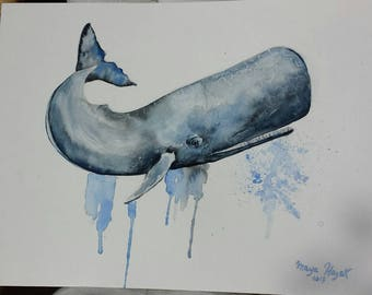 Sperm whale, whale nursery, whale art, sperm whale watercolor painting, aquatic painting, sperm whale painting, beach art, Cachalot art