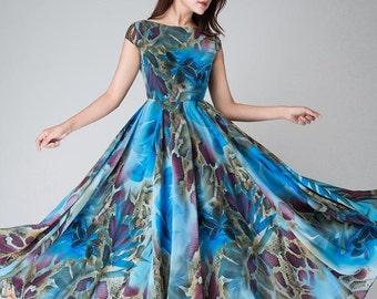blue floral dress, blue party dress, floral evening gown, Maxi dress, chiffon dress, women dresses, long dress, Prom dress (1520)