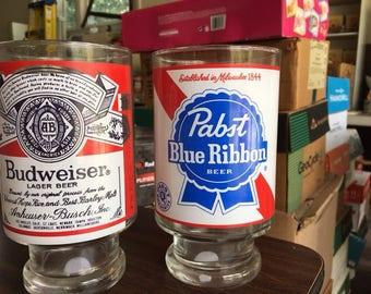 Pabst Blue ribbon 1qt. 32oz vintage 1970's glass Pedestal foot