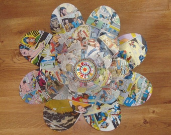 Comic Book Paper Flower - Baby Nursery Decor | Flowers from Book Pages | Comic Book Decor | Paper Flower Wall Art | Book Themed Party