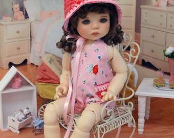 Retro Kittens - vintage style romper and bonnet for My Meadow Saffi doll with shoes