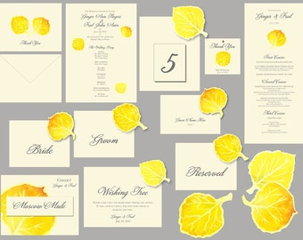 Aspen Wedding - Wedding paper reception suite - Fall watercolor Leaves - place cards, decorations, table numbers, seating, menus