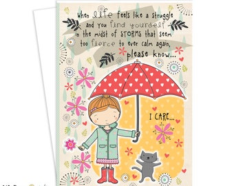 Greeting Card, Friendship, Inspirational Art, Greeting Card, Cat, Spring